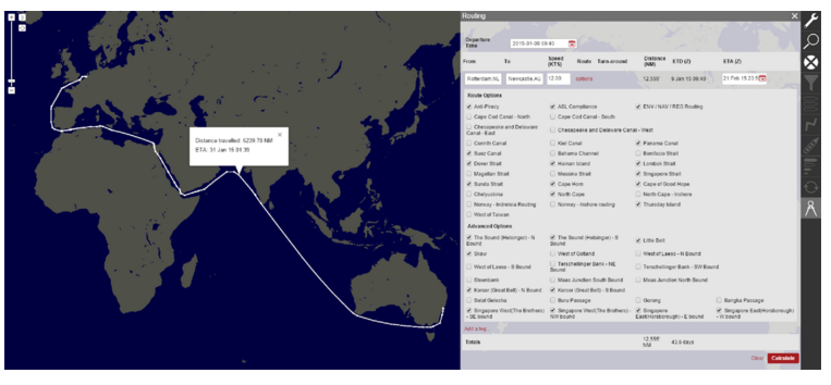 Example distance tracking (Rotterdam to Newcastle)